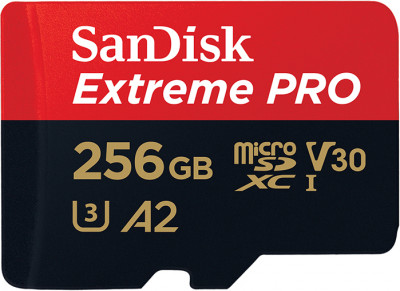 SanDisk microSDXC 256GB C10 UHS-I U3 A2 Extreme Pro V30 + SD-adapter (SDSQXCZ-256G-GN6MA)