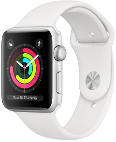 Смарт-часы Apple Watch Series 3 GPS 42mm Silver Aluminium Case with White Sport Band (MTF22)