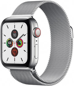 Смарт-часы Apple Watch Series 5 GPS + Cellular 40mm Silver Stainless Steel Case with Silver Milanese Loop (MWWT2)