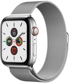 Смарт-часы Apple Watch Series 5 GPS + Cellular 44mm Silver Stainless Steel Case with Silver Milanese Loop (MWW32)