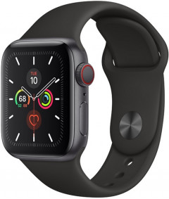 Смарт-часы Apple Watch Series 5 GPS + Cellular 40mm Space Gray Aluminium Case with Black Sport Band (MWWQ2)