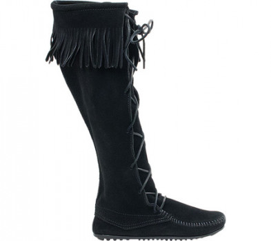 Чоловічі чоботи Minnetonka Front Lace Hardsole Knee Hi Black Suede (131081) (Just For You)