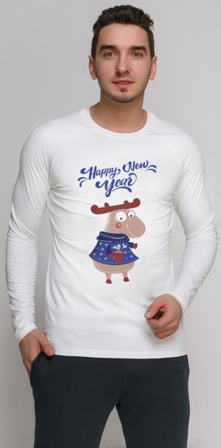 Лонгслив Manatki Happy New Year Лосенок в синем свитере д2973 2XL Белый (2000000127552)