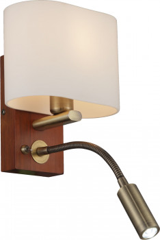 Бра Altalusse INL-3095W-02 Antique brass & Walnut Е14 1х40W+1хLED 3Вт