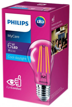 Світлодіодна лампа Philips Filament LED Classic 6-60W A60 E27 865 CL NDAPR (929001974608)
