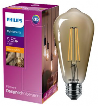 Світлодіодна лампа Philips Filament LED Classic 5,5-48W ST64 E27 825 CL GNDAPR (929001941808)