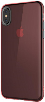 Панель Baseus Simple Series Case With Pluggy для Apple iPhone Xs/X Transparent Red (ARAPIPHX-A09)