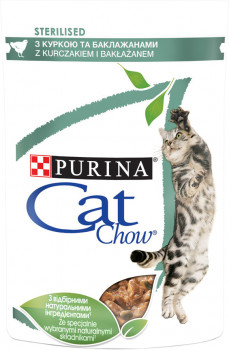 Упаковка вологого корму для кішок Purina Cat Chow з куркою і баклажанами 85 г х 24 шт. (7613037025651)