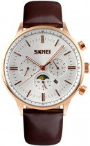 Чоловічий годинник Skmei 9117 Gold Case White Dail BOX (9117BOXGW)