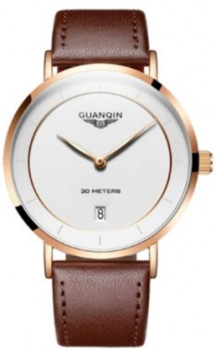 Чоловічий годинник Guanqin RoseGold-White-DarkBrown GS19070 CL (GS19070RGWDBr)