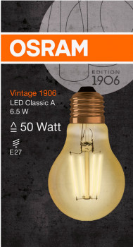 Світлодіодна лампа Osram LED STAR Filament GOLD A60 6.5 W (725 Lm) 2400 K E27 (4058075293298)