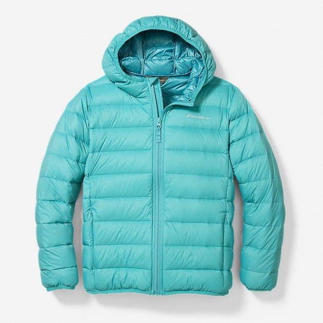 Ультра легкий пуховик Eddie Bauer Kid's CirrusLite Down Hooded Jacket Aqua 164-176 см - изображение 1