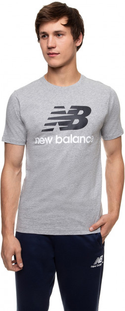 Футболка New Balance Essentials Stacked Logo MT01575AG XL Серая (193362688341)