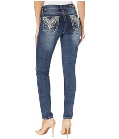 Джинси Grace in the Mid-Rise Skinny Aztec Jeans with Leather in Dark Blue Dark Blue, 31W 32L (10882805)
