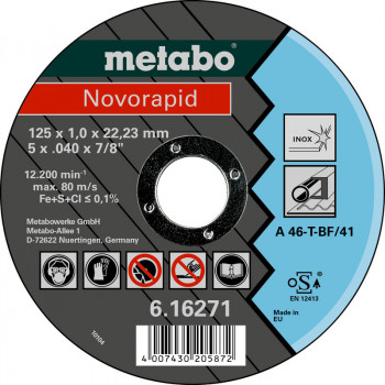 Отрезной диск Metabo Novorapid 125x1x22 мм Inox 25 шт (UA616271000)