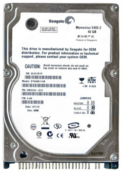 Жорсткий диск Seagate 5400rpm 8MB 40GB IDE (ST9408114A) Refurbished