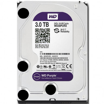 Жорсткий диск Western Digital Purple 3TB 5400rpm 64MB (WD30PURZ) 3.5 SATA III