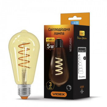 Лампа VIDEX LED Filament ST64 5W E27 2200K 220V 340lm діммерная (LS-0000523)