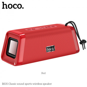Портативна акустична система HOCO Classic sound sports BT5.0 IPX5 BS35 |AUX, TF CARD, FM, USB| Red