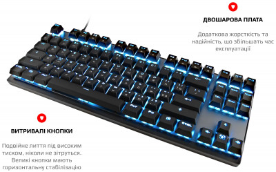 Клавіатура бездротова Motospeed GK82 Outemu Blue USB/Wireless Black (mtgk82bmb)