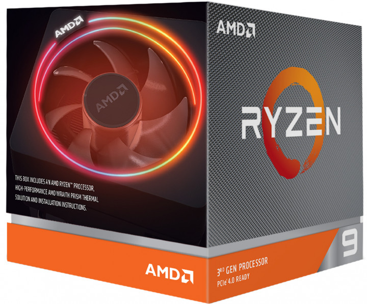 Процесор CPU AMD 12C/24T Ryzen 9 3900X 3,8GHz-4,6GHz(Turbo)/64MB/105W Box AM4 with Wraith Prism cooler (100-100000023BOX)
