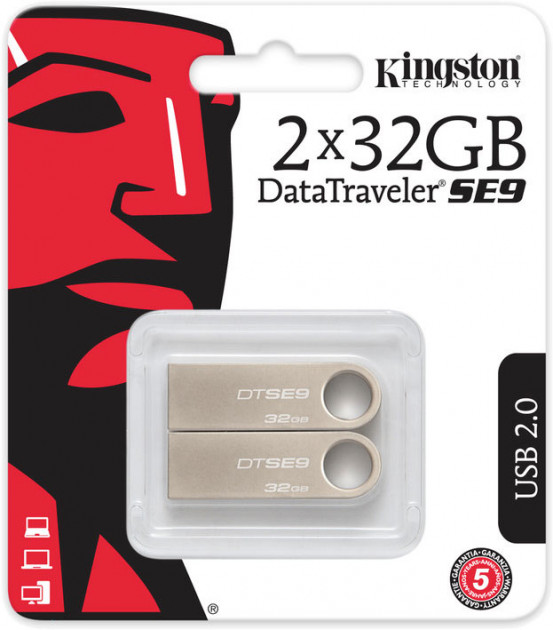 Kingston DataTraveler SE9 2x32GB USB 2.0 (DTSE9H/32GB-2P) - изображение 1