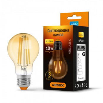 Лампа LED VIDEX Filament A60FA 10W E27 2200K 220V (VL-A60FA-10272) бронза