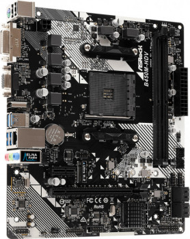 Материнская плата AM4 (B450) AsRock B450M-HDV R4.0, B450, 2xDDR4, Int.Video(CPU), 4xSATA3, 1xM.2, 1xPCI-E 16