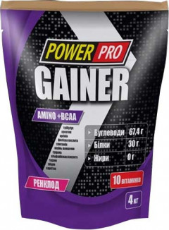 Гейнер Power Pro Gainer 4 кг Ренклод (4820113922978)