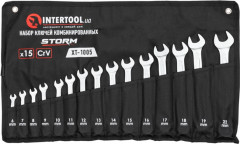 Набор ключей Intertool 15 предметов, 6-19, 22 мм (XT-1005)