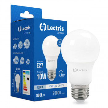Лампа LED Lectris A60 10W 4000K 220V E27 (1-LC-1106)