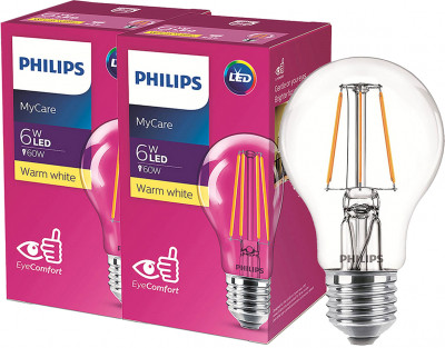 Світлодіодна лампа Philips Filament LED Classic 6-60 W A60 E27 830 CL NDAPR 2 шт. (929001974508F)