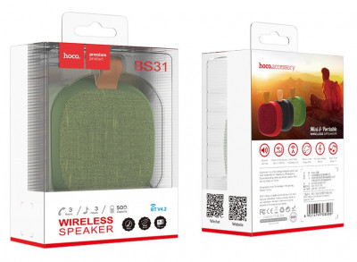 Портативная Bluetooth колонка HOCO Bright sound sports BS31, зеленая