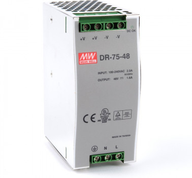 Блок питания Mean well Moxa Din-Rail 48VDC Supply -10~50Gr (60Gr@60%) (DR-75-48) Refurbished