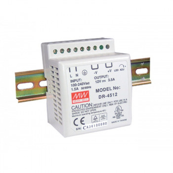 Блок питания Mean well Moxa Din-Rail 12Vdc Supply 0~45Gr (-10~50Gr@80%) (DR-4512) Refurbished