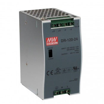 Блок питания Mean well Moxa Din-Rail 24Vdc Supply -10~45Gr (60Gr@60%) (DR-120-24) Refurbished