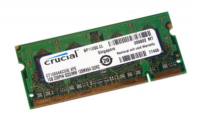 Оперативная память Crucial CRUCIAL 1GB (1*GB) PC2-4200S DDR2-533MHZ SODIMM (CT12864AC53E.8FE) Refurbished