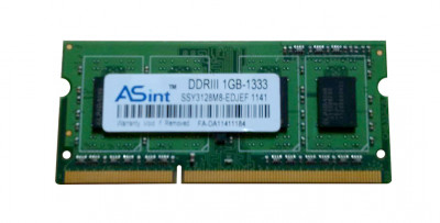 Оперативная память Asint ASINT 1GB (1*1GB) PC3-10600 DDR3-1333MHZ SODIMM (SSY3128M8-EDJEF) Refurbished