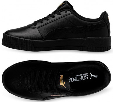 Кеди Puma Carina Leather W 37032508 Black-Black-Team Gold