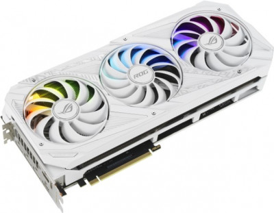 Asus PCI-Ex GeForce RTX 3090 ROG Strix OC White Edition 24GB GDDR6X (384bit) (1890/19500) (2 x HDMI, 3 x DisplayPort) (ROG-STRIX-RTX3090-O24G-WHITE)